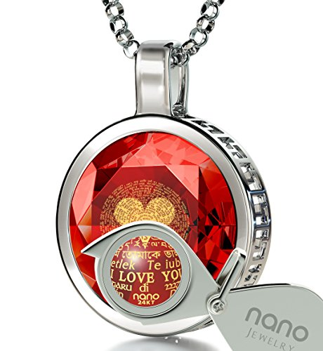 925 Sterling Silver I Love You Necklace 120 Languages 24k Gold Inscribed Red Cubic Zirconia Pendant, 18'' by Nano Jewelry