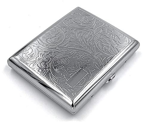 estuche de metal vintage para cigarrillos Leafy Silver