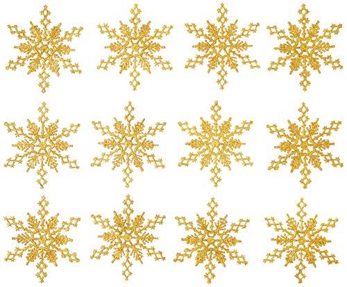 Vickerman Plastic Glitter Snowflake, 6.25-Inch, Antique Gold, 12 Per Box