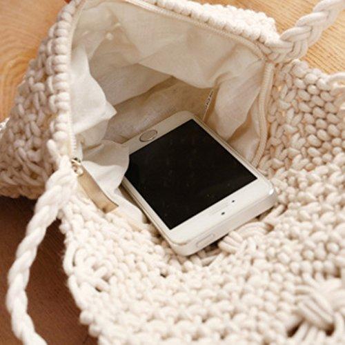 MagiDeal Donne Borse a Spalla Scava Fuori Crochet Nappe Cross-corpo Sacchetto della Spiaggia - Bianco