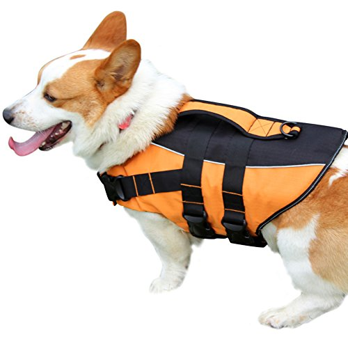 vecomfy Premium Dog Life Jacket for Swimming,Thicken Safety Flotation Dog Life Vest for Small Dogs by (Orange,S) by vecomfy