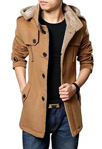 Brinny Herren Casual Mantel Fleece Parka Winter Warme Jacke Trenchcoat mit  Kapuze From Brinny