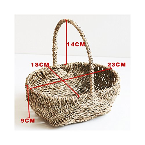 Endlless Hand-Woven Natural Straw and Willow Basket Wicker Flower Pots Flower Wall Hanging Flowerpot Hanging Basket Rustic Rattan Hanging Wall Basket-09
