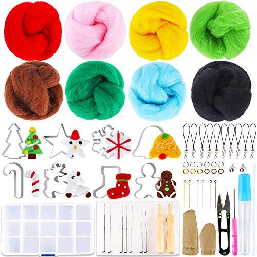 Outkitkit Christmas Needle Felting Kit - Holiday Wool Roving Kit with Wool Felt Tools & Christmas Needle Felting Mold Felting Supplies for Starter
