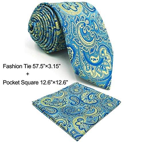 SHLAX&WING Designer Neckties for Men Paisley Blue Yellow Handmade for Wedding Party