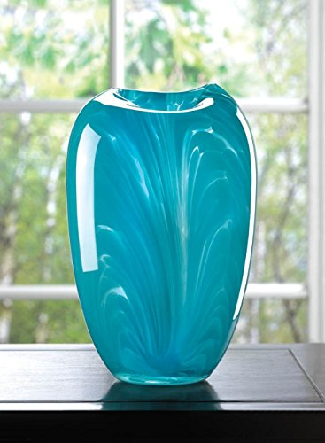 Home Vase Modern Glass Teal Art Flower Filler Elegant Centerpiece Arrangement Unique Contemporary - Roseville In Galleria