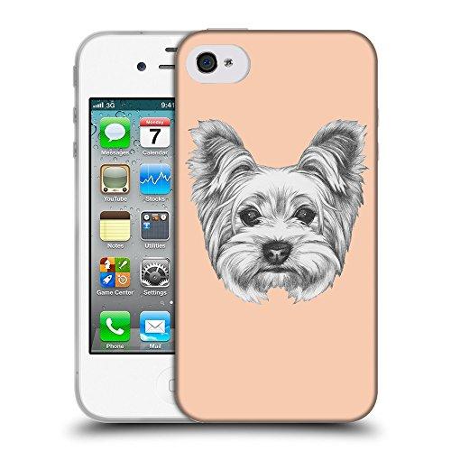 GoGoMobile Coque de Protection TPU Silicone Case pour // Q05120604 Chien dessin Abricot // Apple iPhone 4 4S 4G