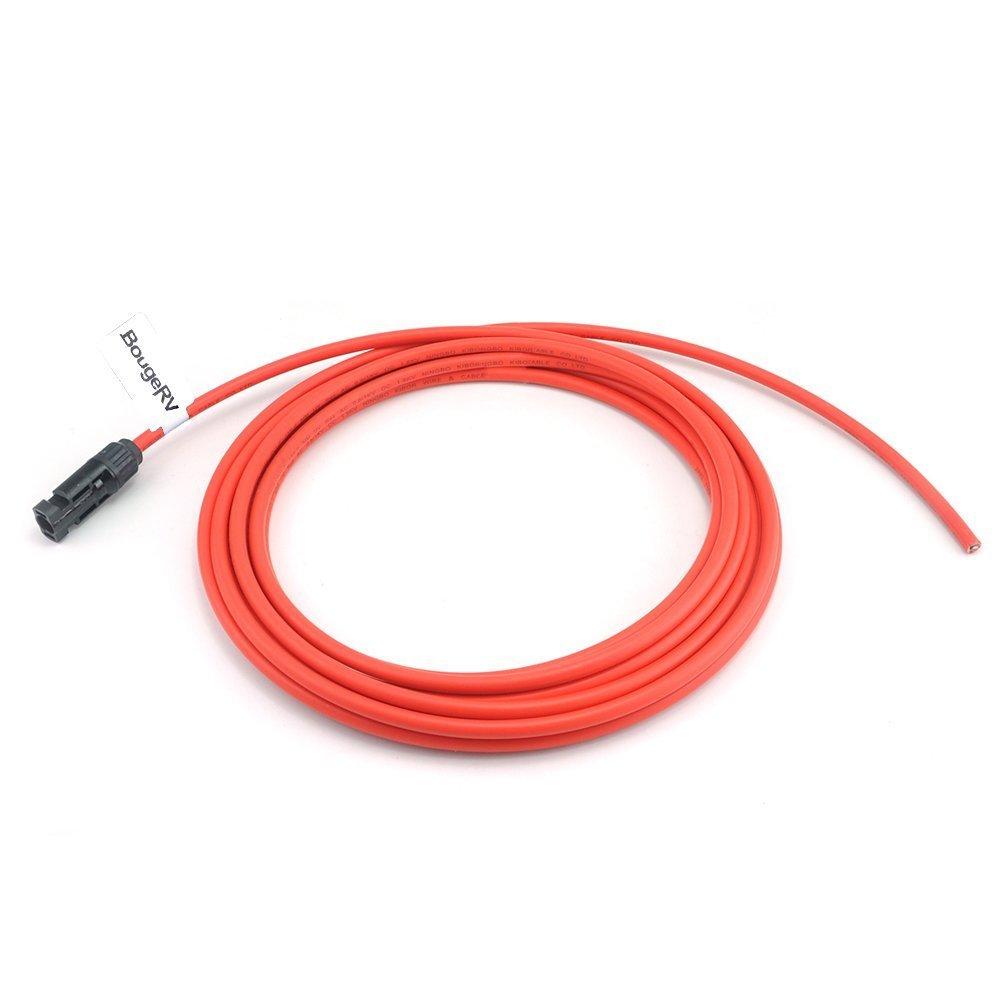 30 Pies Rojo + 30 Pies Negro BougeRV Cable de Extensi/ón Solar 9m 30 pies 10AWG con Conector Hembra y Macho MC4 Kit de Adaptador de Panel Solar