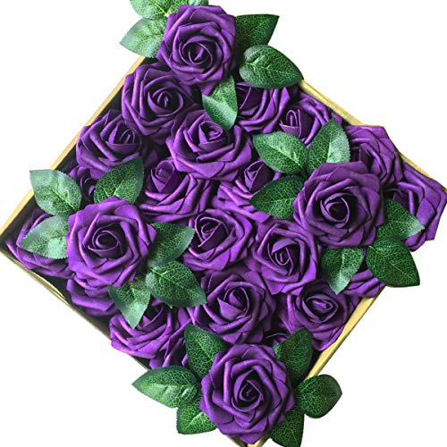 Jing-Rise Artificial Roses flowers 50PCS Fake Roses for DIY Wedding Bridal Bridesmaids Bouquets Floral Baby Shower Centerpiece Corsage Cake Flower Birthday Party Home Office Decoration (Purple)