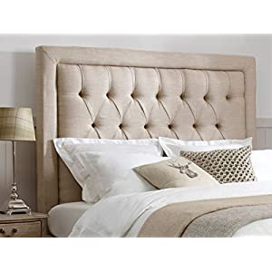mm08enn BEAUTIFUL SPEICAL BEDWORTH HEADBOARD WITH MATCHING BUTTONS IN LINEN FABRIC IN 30″ HEIGHT (4ft6 double, beige)