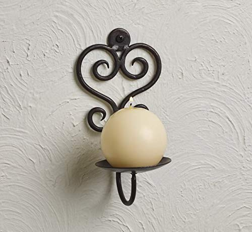 Market Street Iron Scroll Pillar and Votive Candle Wall Sconce