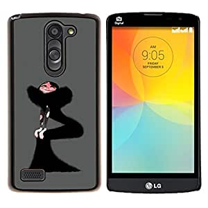 "Be-Star Único Patrón Plástico Duro Fundas Cover Cubre Hard Case Cover Para LG L Prime / L Prime Dual Chip D337 ( Mujer Vestido Negro Fashion Art Dibujo Flaco"" )"