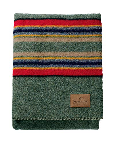 Pendleton Yakima Camp Thick Warm Wool Indoor Outdoor Striped Throw Blanket, Green Heather, Queen