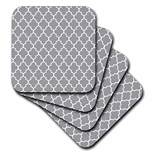 3dRose cst_120259_2 Dark Gray Quatrefoil Pattern Grey Moroccan Tiles Modern Stylish Geometric Clover Lattice Soft Coaster (Set of (Gray Quatrefoil Clover)