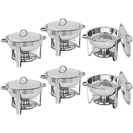 Super Deal Pack Of 6 Deluxe Full Size Round Durable Frame 5 Qt Stainless Steel Chafing Dish Dinner Serving Buffer Warmer Set 6