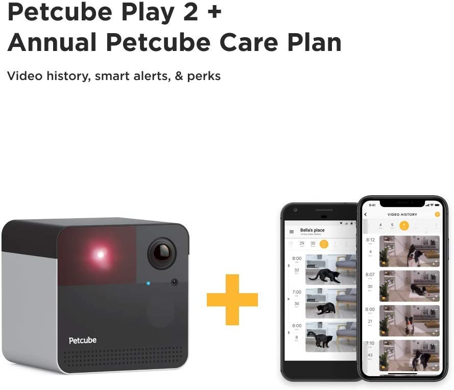Petcube New 2019 Play 2 Wi-Fi Pet Camera with Laser Toy Alexa Built-in, for Cats and Dogs. 1080p HD Video, 160 Full-Room View, 2-Way Audio, Sound Motion Alerts, Night Vision, Pet Monitoring App