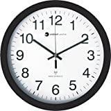"""Ambient Weather RC-1200WB 12"""" Atomic Radio Controlled Wall Clock, White / Black"""