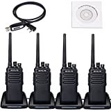 Retevis RT81 2 Way Radio IP67 Waterproof 10W UHF 400-470 MHz Rechargeable Walkie Talkies with Earpiece(4 Pack)and Programming Cable(1 Pack)