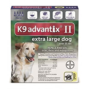Bayer Animal Health New K9 Advantix II Extra Large XL Dog 4 Pack/Month for Dogs Over 55LBS 19
