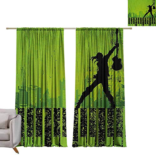 berrly Drapes Popstar Party,Music in The City Theme Singer with Electric Guitar on Grunge Backdrop,Lime Green Black W72 x L96 Drapes for Living Room