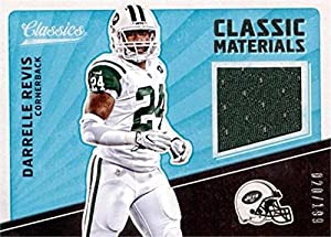 Autograph Warehouse 343260 Darrelle Revis Player Worn Jersey Patch Football Card - New York Jets 2017 Panini Classic Materials No. CMDR LE 20 & 199