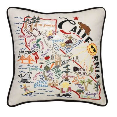 Catstudio Hand-Embroidered Pillow - California by Catstudio Embroidered Pillow