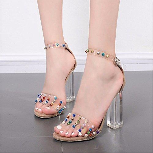 HXVU56546 Correa Ranurada Tornillos Metálicos De Verano Mujer Zapatos De Tacón Alto De Cristal Transparente Irregular Con Grandes Astilleros Sandalias Moda apricot
