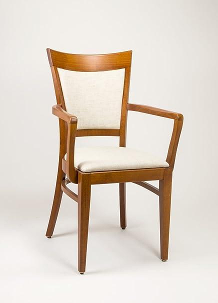 LEBER Silla con brazos de madera y tapizada para comedor modelo ...
