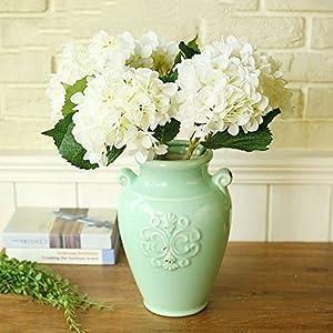 YSBER 3 Big Heads Artificial Hydrangea Silk Fake Flowers Bunch Bouquet Home Hotel Wedding Party Centerpieces Garden Floral Decor(White) 1