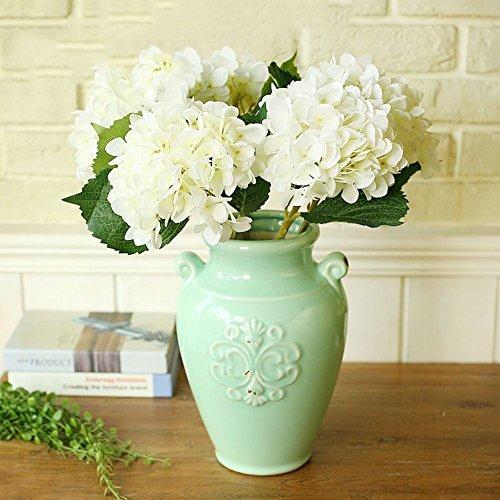 YSBER 3 Big Heads Artificial Hydrangea Silk Fake Flowers Bunch Bouquet Home Hotel Wedding Party Centerpieces Garden Floral Decor(White)