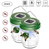 KOBWA 2PACK Solar Outdoor Wasp Trap Killer,Upgraded Wasp Trap Catcher,Bee Trap,Ultraviolet LED Light