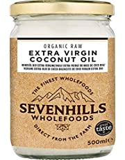 Sevenhills Wholefoods 500ml Organic Extra Virgin Raw Coconut Oil (Cold-Pressed) for Cooking, Baking, Skin moisturiser & Hair Conditioner