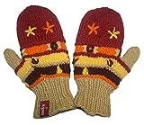 1418 MT Women's Hand Knit Wool Fleece Plant Mitten [Yellow/Orange]