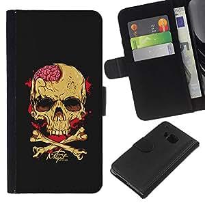 BearCase / Cuero de la tarjeta la carpeta del tirón Smartphone Slots Protección Holder /// HTC One M9 /// Cerebros Cráneo Amarillo Negro bandera pirata