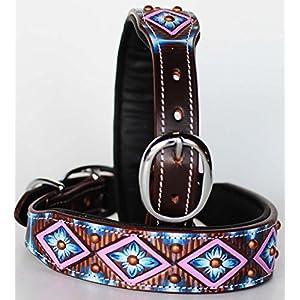 ProRider Medium 17''- 21'' Rhinestone Dog Puppy Collar Crystal Cow Leather Western 6035PR
