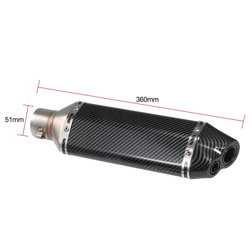 Fibra di Carbonio KKmoon Universale 38-51mm Tubo di Scarico Marmitta in Acciaio Inox Terminale di Scarico Tubo Silenziatore Fit Piccolo esagono Obliquo per Moto ATV Silenziatore Refit Coda