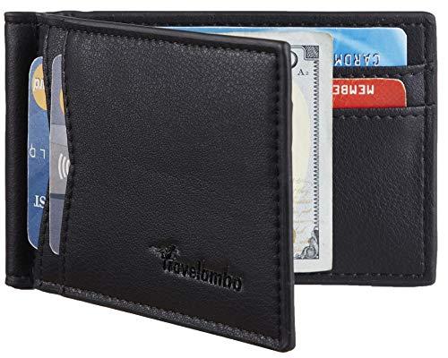 Travelambo Leather RFID Blocking Slim Minimalist Front Pocket Wallet Money Clip (Napa Black)