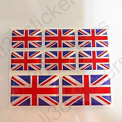 All3dstickers Pegatinas Reino Unido UK Resina, 8 x Pegatinas Relieve 3D Bandera Reino Unido UK Adhesivo Vinilo: Amazon.es: Coche y moto