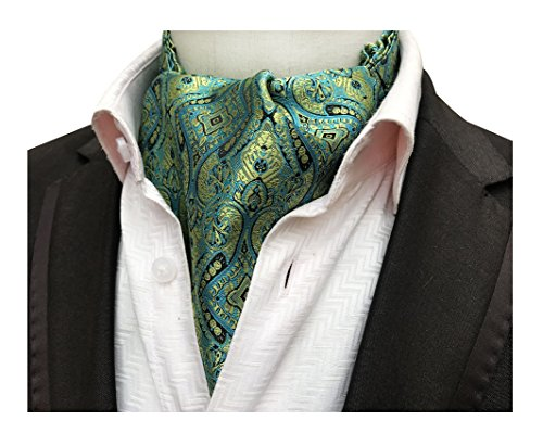(Big Men Cyan Blue Gold Floral Silk Cravat Ties Jacquard Woven Motif Casual Ascot)