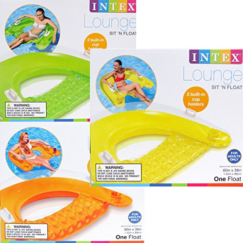Intex Sit N Float Inflatable Lounge, 60 X 39 (Colors May Vary)(2-Pack)