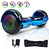 VEVELINE Hoverboard UL2272 Certified 6.5 inch Self Balancing Scooter with Colorful Flash Wheel Top LED Light, Built-in Bluetooth Speaker,Hover Board for Kids Adults Free Carry Bag(Bright Blue)