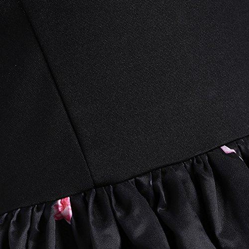 iBaste Damen Sexy Hepburn Retro Vintage Bowknot-Druck kleid von der Schulter Retro Cocktailkleid Faltenrock Abendkleid Ltid6D