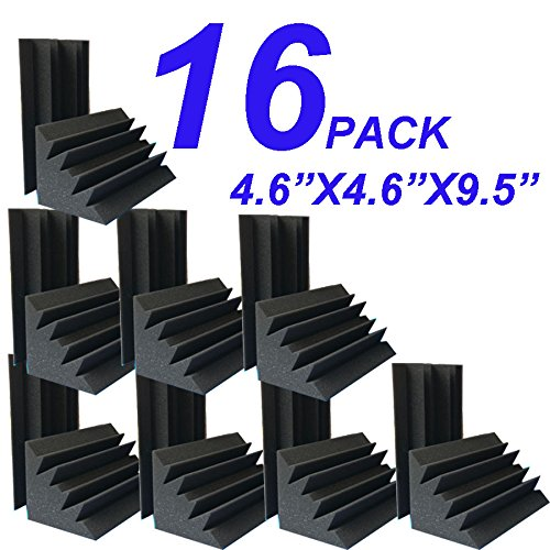 Hot 4.72x4.72x9.6 Sale Acoustic Foam 16 PCS in Black Bass trap Soundproof foam XL 4336353377