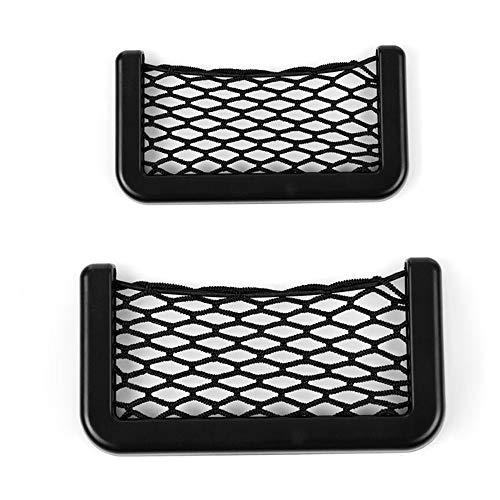 LEIWOOR 2 Pcs Universal Black Car Net Bag Phone Holder Storage Pocket Organizer Also Great for Wallet, Keys, Pens