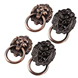 uxcell Metal Lion Head Design Vintage Style Furniture Gate Chest Pull Handle 65mm Long 4pcs