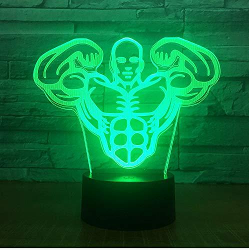 kkkmb 3D Night Light Creative New Fitness Coach Led Night Lamp 3D Visual Lamp Acrylic Multicolored Bluetooth Audio