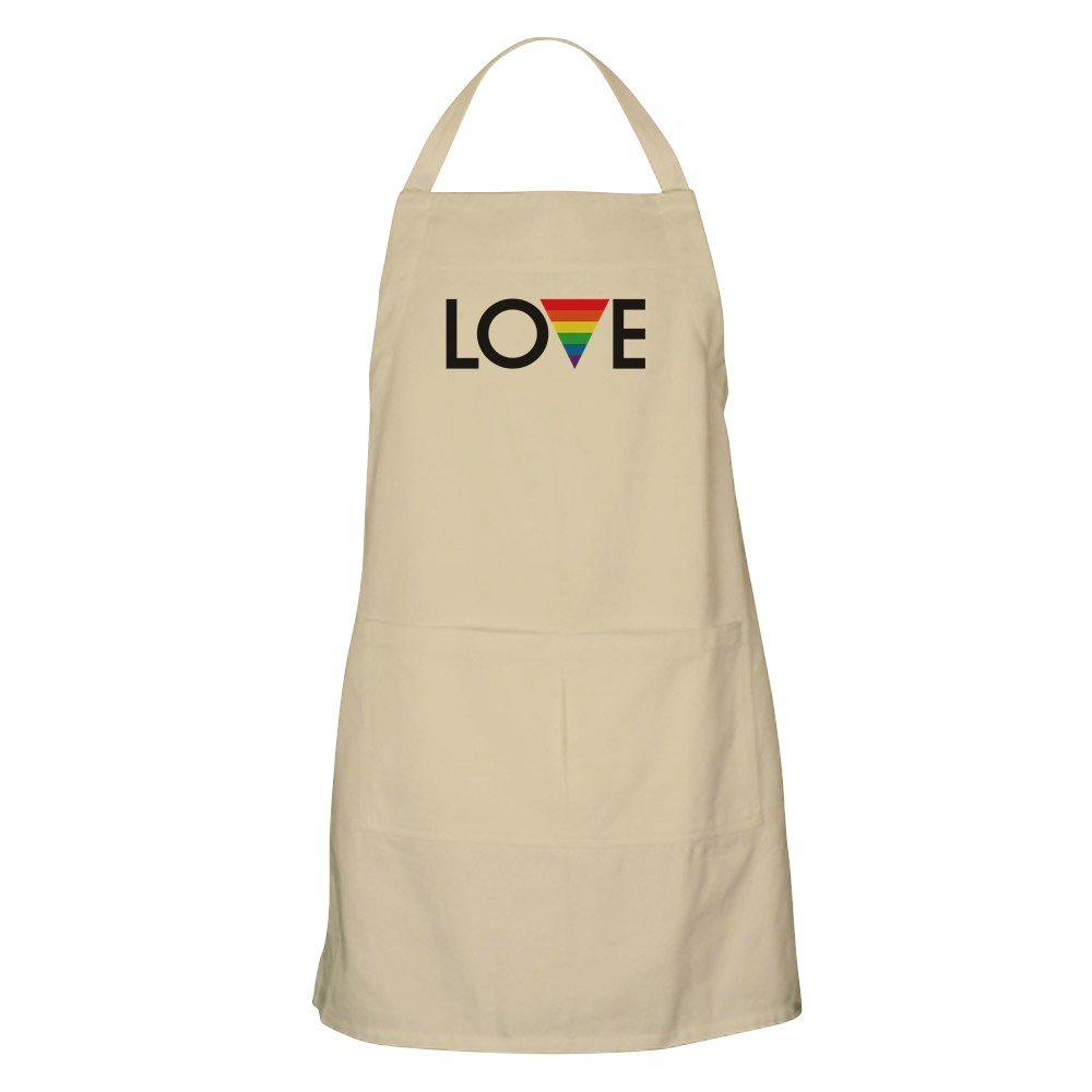 CafePress - LOVE - Gay Pride Apron - Kitchen Apron with Pockets