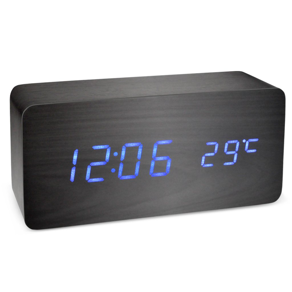 OLLGEN Wood Alarm Clock,Digital Alarm Clock,Voice Command Beside Touch Clock, LED Modern Wooden Cube Clock,Mini Alarm Clock, Small Desk Clock Show Time Date Temperature for Home (Black-Blue)