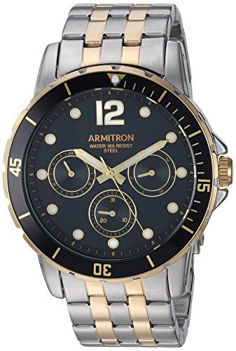 Armitron Men's 20/5277BKTT Multi-Function Dial Two-Tone Bracelet Watch