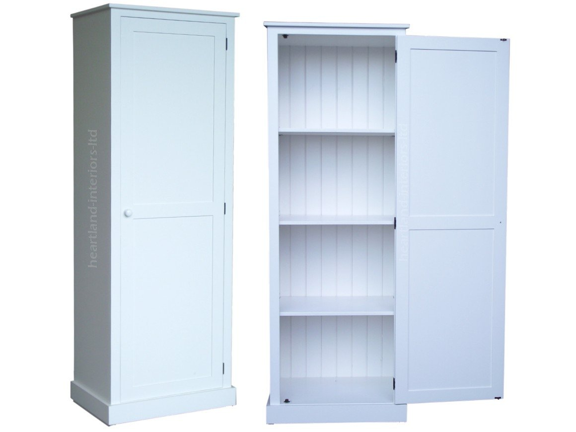 100% Solid Wood Storage Cabinet, 180cm Tall White Painted Cupboard ...